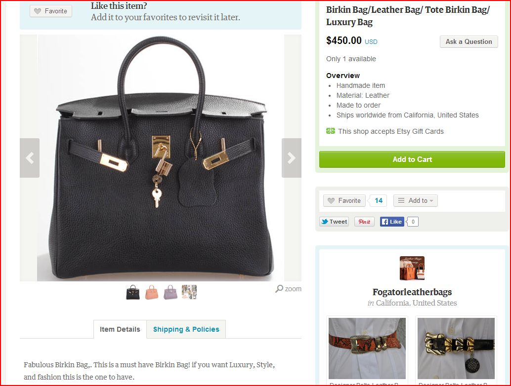 7ad98d3a60be Etsy Birkin Bags